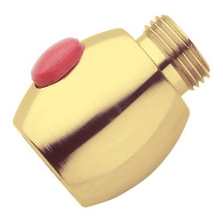 "Renovators Supply - Shower Heads Solid Brass Shuts water Off If Too Hot Shower Head | 18624 - Install our ""smart"" sensor between your shower head and arm. It automatically shuts off the water if temperatures reach 114 degrees. Hit the reset button to turn water flow back on. Solid brass. 1/2"" thread."