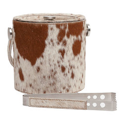 """Pigeon & Poodle - Pigeon & Poodle Browmley Pony Ice Bucket - The Pigeon & Poodle Browmley ice bucket lends the modern bar bold function. Handsome in pony hair-on-hide, this accessory surprises with sleek silver accents. 7""""D x 6.5""""H; Cowhide; Stainless steel; Includes tongs and lid; Variations may occur"""