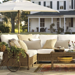Saybrook All-weather Wicker Sectional Components - Wicker just screams summer, right? This set is comfy and has enough room for party guests.