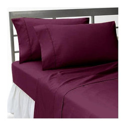 SCALA - 300TC 100% Egyptian Cotton Solid Wine Olympic Queen Size Sheet Set - Redefine your everyday elegance with these luxuriously super soft Sheet Set . This is 100% Egyptian Cotton Superior quality Sheet Set that are truly worthy of a classy and elegant look. Olympic Queen Size Sheet Set Includes:1 Fitted Sheet 66 Inch(length) X 80 Inch(width) (Top Surface Measurement)1 Flat Sheet 96 Inch(length) X 104 Inch (width)2 Pillowcase 20 Inch(length) X 30 Inch(width)