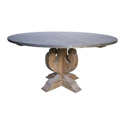 Noir - Noir - Curlin Dining Table w/ Hammered Zinc Top - Curling Zinc Top Kitchen TableFor a dining look that's both rustic and modern, look no further than this zinc topped table. Crafted of weathered wood base and hammered zinc table top, this durable zinc table encompasses vintage style and a practical design. Zinc kitchen tables offer great benefits for dining, as they are non-porous, making them easier to keep clean and sanitized. In respect to the item's natural wood aesthetic, Noir has utilized wax, as opposed to a sealer. The applied wax allows the table to age naturally over time. Zinc top tables require use of coasters, placemats, and tablecloths in order to protect the item from marking. Knots, gouges, cracks and nail holes are all complimentary characteristics of this piece's finish rustic finish. Order yours today, and receive free shipping!