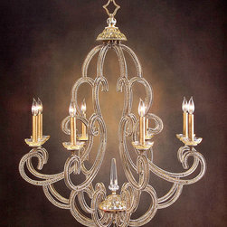 Eight-Light Chandelier Candelabra Base - It evokes the glamorous luminescence of grand maisons found along the boulevards of Paris. Eight delicate candelabra rest within petal cups that dance at the ends of gently curved arms burnished in a Gold Leaf finish. Suspended from a simple link chain, the chandelier brilliantly captures the eye when placed within a foyer or formal dining room.