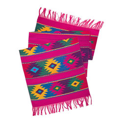 Mayan Table Runner in Pink - From San Juan Comalapa, Guatemala, this table runner is hand woven using the ancient artisan technique of backstrap weaving. Featuring a striking Mayan design available in neutral, pink, maroon or green. Each table runner is one of a kind and due to its handmade nature, color patterns and dimensions may vary slightly.
