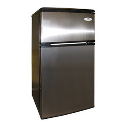 Sunpentown - Double Door Refrigerator with Energy Star, 3.2 Cu. Ft., Stainless Steel - Flush back, compact design is ideal for college dorm room or office. Reversible doors offer versatility. Features separate freezer and fridge compartment, adjustable thermostat and fresh food section.