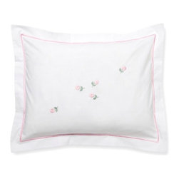 Jacaranda Living - Baby Boudoir Pillow Cover, Rosebuds, pink - Rosebuds and sweet baby girls are synonymous. Decorate your baby's crib with this adorable handmade, hand-embroidered pillow cover. Don't be surprised if this becomes her favorite pillow for years to come.