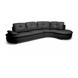 Baxton Studio - Baxton Studio Hilaria Black Leather Modern Sectional Sofa - Your living room is lookin' good with the Hilaria Designer Sectional sitting front and center. This contemporary creation features two pieces: 1 sofa and 1 curved chaise lounge that connect to one another via the attached metal bracket system. Relax for years on a sturdy hardwood frame, foam cushioning, s springs, and pocket springs. Made in Malaysia, the modern sofa is finished with black bonded leather and dark brown wood legs with non-marking feet. The backrest cushions are removable (attached with Velcro) while the seat cushions are sewn to the frame. The Hilaria Sectional requires minor assembly and should be wiped clean with a damp cloth. This style is also available in cream leather (sold separately).