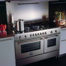 Kitchen Range - Bertazzoni Professional Series 48 Inch Natural Gas Double Oven Range with 6 Gas Burners and Griddle