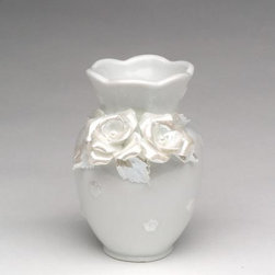 ATD - 3.5 Inch White Wavy Top Vase with Rose Flower Decorations - This gorgeous 3.5 Inch White Wavy Top Vase with Rose Flower Decorations has the finest details and highest quality you will find anywhere! 3.5 Inch White Wavy Top Vase with Rose Flower Decorations is truly remarkable.