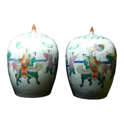 Golden Lotus - Pair Chinese Porcelain Riding Kirin Scenery Jars - This is a pair traditional Chinese decoration jars white base with colorful graphic of kid gathering scenery.