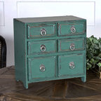 Kadri Six Drawer Box - Stash trinkets or teas, jewelry or mementos in the charming Kadri Box. Six small drawers amid a distressed teal green exterior make this box an eye catching accessory to perch on a console or kitchen counter. Polished silver loop pulls give a delightful finishing touch to a functional and lovely accent piece that can be placed virtually anywhere to add storage and chic to a space.