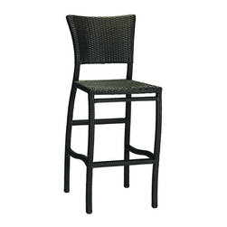 Frontgate - Skye Outdoor Bar Stool with Cushion - Ideal for any environment, including oceanfront and saltwater destinations. Durable aluminum frames woven with rich black walnut high-quality resin wicker. Specially formulated high-quality resin provides superior UV resistance and is formulated for a realistic look and feel. Cushion covered in exclusive Sunbrella&reg fabrics, the finest solution-dyed, all-weather material available. The superbly built Skye Collection from Summer Classics has cloudlike curves and unadorned frames that seem to capture the simplicity of a summer day. This lightweight but sturdy barstool is fully handwoven with high-quality resin wicker, making this collection perfect for worry-free coastal enjoyment or any outdoor setting.Part of the Skye Collection by Summer Classics&reg.  . . . Note: Due to the custom-made nature of the cushions, any fabric changes must be made within 48 hours of ordering.