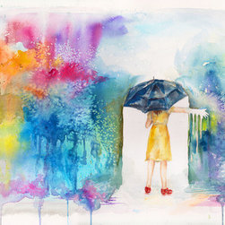 Washed by Rain (Original) by Rosa  Nevarez - There is something wonderfully playful about the rain, which is ironic since rainy days are never this colorful. Sorta like the strikingly dark Morton salt cans.