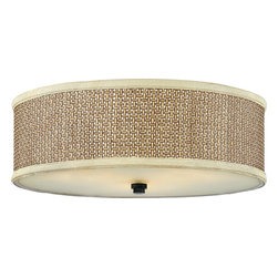 Quoizel - Quoizel ZE1617K Zen Contemporary Flush Mount Ceiling Light - This serene design is appropriate for almost any room, and brings an natural, exotic feeling into your home.  The tan rattan shades are tigtly woven and surrounded with coordinating trim, and the monochromatic color palette keeps the design tasteful and versatile.