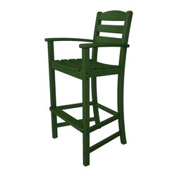 Polywood - Eco-friendly Bar Stool in Green - If you're looking for one of the most stylish and comfortable Stools, bar none, for your outdoor entertaining area, then look at the Polywood La casa cafe bar Arm Stool.