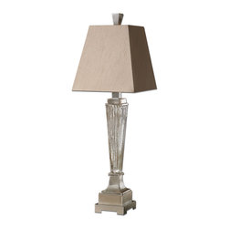 Uttermost - Canino Mercury Glass Pillar Table Lamp - Like a glamorous 1920s starlet — this lamp is sleek and sexy. It's designed by Carolyn Kinder and features ribbed mercury glass and a tapered linen shade. Without a doubt, this tabletop sensation will captivate everyone.