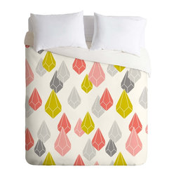 DENY Designs - DENY Designs Heather Dutton Raining Gems Enchanted Duvet Cover - Lightweight - Turn your basic, boring down comforter into the super stylish focal point of your bedroom. Our Lightweight Duvet is made from an ultra soft, lightweight woven polyester, ivory-colored top with a 100% polyester, ivory-colored bottom. They include a hidden zipper with interior corner ties to secure your comforter. It is comfy, fade-resistant, machine washable and custom printed for each and every customer. If you're looking for a heavier duvet option, be sure to check out our Luxe Duvets!