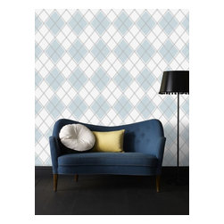 Graham & Brown - Argyle Wallpaper - A stunning diamond geometric wallpaper design which is textured in order to add even more depth and warmth to yur room, this sky blue design is bright and bold and will add impact to any home and bring a touch of Argyle to your walls.