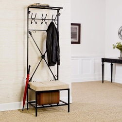 "SEI Entryway Storage Rack Hall Tree - The perfect solution to fill that empty space next to your front or back door. This unit not only gives you a place to hang umbrellas coats and bags but you also get the convenience of being able to sit down to take your shoes on and off. The lower shelf is raised 6"" off the ground to give you shoe storage without cluttering the floor. There is also an upper shelf that extrudes 8"" from the wall to top the whole thing off perfect for hats and knick knacks. About SEI (Southern Enterprises Inc.)This item is manufactured by Southern Enterprises or SEI. Southern Enterprises is a wholesale furniture accessory import company based in Dallas Texas. Founded in 1976 SEI offers innovative designs exceptional customer service and fast shipping from its main Dallas location. It provides quality products ranging from dinettes to home office and more. SEI is constantly evolving processes to ensure that you receive top-quality furniture with easy-to-follow instruction sheets. SEI stands behind its products and service with utmost confidence."