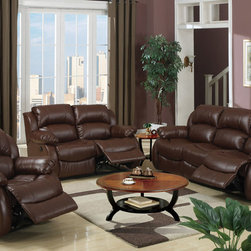 Modern Rich Brown Leather Reclining Sofa Loveseat Motion Couch Living - This features a 3-piece sofa set dipped in a rich brown bonded leather. It merges comfort and style in functional and versatile furniture.
