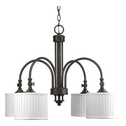 Progress Lighting - Progress Lighting P4421-84 Clayton Four-Light Espresso Chandelier White Pleated - Four-light chandelier, finished in Espresso, is a traditionally rooted design where classic vintage styling meets minimalistic lines. Arching arms are terminated by retro-modern drum shades with linen fabric in a soft side pleat to provide warmth and texture. Functional turnkeys provide both a bit of utility and visual interest - allowing shades to be directed at your choosing. Six feet of 9 gauge chain is supplied for ceiling chain mount.