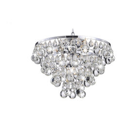 None - Tranquil Chrome Plating Chandelier with Smooth Crystals - This chrome-plated crystal chandelier will help your home look regal. The circular base is adorned with dozens of shimmering crystals arranged in an eye-catching pyramid shape. This fixture houses four bulbs, so it'll fill a room with plentiful light.