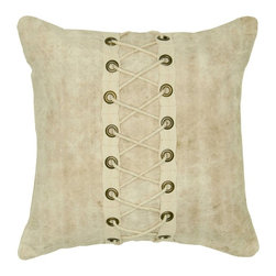 Rizzy Home - Rizzy Home Natural Rope and Hooks Decorative Throw Pillow Multicolor - T05602 - Shop for Pillowcases and Shams from Hayneedle.com! Laced up tight the Rizzy Home Natural Rope and Hooks Decorative Throw Pillow uses metal and laces to make a statement. This decorative throw pillow has a recycled cotton canvas cover highlighted by its crisscross lacing and metal grommets. This pillow includes a plush removable insert and hidden zipper. Spot clean only.About Rizzy HomeRizwan Ansari and his brother Shamsu come from a family of rug artisans in India. Their design color and production skills have been passed from generation to generation. Known for meticulously crafted handmade wool rugs and quality textiles the Ansari family has built a flourishing home-fashion business from state-of-the-art facilities in India. In 2007 they established a rug-and-textiles distribution center in Calhoun Georgia. With more than 100 000 square feet of warehouse space the U.S. facility allows the company to further build on its reputation for excellence artistry and innovation. Their products include a wide selection of handmade and machine-made rugs as well as designer bed linens duvet sets quilts decorative pillows table linens and more. The family business prides itself on outstanding customer service a variety of price points and an array of designs and weaving techniques.