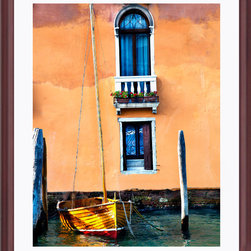 Sadkowski Photography Collection - Artwork - Tramonto Venezia :   The Venice Collection - Sunlight cast on a sailboat in Venice.   Piece measures 24 x 30 . Printed to order on archival  enhanced matte or premium luster paper with archival ink. Framing includes solid wood cherry frame, dry mounting, dbl. acid free neutral matting, glass, backing paper.  Signed by the artist. Shipping included. From the Sadkowski Venice Collection, where every image looks like a painting.