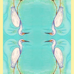 "Betsy Drake - Betsy Drake Snowy Egret Throw / Blanket - Warm and richly designed, these 50""x60"" throws brighten up any decor."