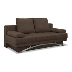 Lifestyle Solutions - Victoria Convertible Sofa in Dark Brown - Easily converts from sofa to bed position in seconds. 3 Seat function : Sofa, Lounger, Bed. Premium Java Fabric. Construction: wood frame, stainless steel legs. Durable construction. Curved Metal leg - Chrome finish. Durable construction. Clean with damp cloth. Sofa: 79.9 in. L x 41.3 in. W x 29.5 in. H (186 lbs). Bed: 79.9 in. L x 61 in. W x 17.3 in. H (186 lbs)The Signature line features world class comfort and function. Every Signature convertible is built by combing soft contemporary and traditional looks with the excellence in comfort in seating and sleeping you have the signature line. Size, Shape, Multi- Function rule the Signature line, for inner-city or rural settings the signature line offers top notch alternatives to traditional sleepers, daybed, and futons.