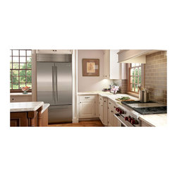"""Sub-Zero 36"""" Built-in French Door Refrigerator, Stainless Steel   BI36UFDSPH - Coming in the summer of 2012 is the Sub-Zero 36"""" French door refrigerator/freezer, the latest addition to our line of built-in refrigeration. The French-door style is popular for its looks and appreciated for its functional benefits. Open either of the two, 18""""-wide doors independently, or open them together for full access to the refrigerator's interior even in narrower spaces."""