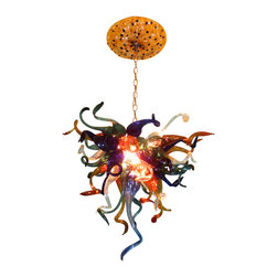 """Primo Glass - Blown Glass Chandelier - Art Glass Chandelier - Lighting - Pendant Chandelier - Beautiful one of a kind blown glass chandelier handcrafted in the USA by Primo Glass. This is a custom one of a kind """" to be built """" chandelier that will have slight differences from the chandelier shown in the listing photos, and has a lead time of aprox 3 weeks. The lighting source consists of 1 standard medium base ( 100 watt max ) light socket in the center of the fixture. It will be shipped with a 60 watt dimmable LED light bulb that will last for 20k hours or longer. All electrical components are UL listed. It also comes complete with a custom made matching glass ceiling medallion. The chandelier itself measures aprox 22 inches wide x 20 inches tall, and also includes an additional 36 inches of adjustable chain. Primo Glass fixtures are high quality collectible works of functional art, signed by the artists, and come with a certificate of authenticity."""