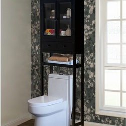Jeco - Jeco Space Saver Over-the-Toilet Cabinet - Brown - F1302-A - Shop for Bathroom Etageres Racks and Space Savers from Hayneedle.com! Making sure that everything has a home isn't the goal of organization; it's just a byproduct when the real goal is that relaxing stress-free feeling that you get from being in a clutter-free space that has the aesthetic style you want while still giving you the tools that you need - that's why we have the Jeco Space Saver Over-the-Toilet Cabinet - Brown. This all-in-one unit is crafted from rugged MDF wood with a rich brown finish and traditional style. Up top you have a pair of glass-paned doors that open to reveal two levels of storage. A pair of pull-out drawers are perfect for smaller items and the lower shelf is ideal for towels or decorative objects. The entire unit assembles easily and fits behind most standard lavatories.About Jeco Inc:Whether it's a timeless traditional design you're looking for or something more modern and contemporary Jeco Inc. likely has something to suit your relaxation needs. Offering numerous types of patio furniture indoor furniture water fountains home decor and pet products the company formed in 2009 works with designers that search the world for inspiration and create innovative yet functional products that are built with quality and durability.