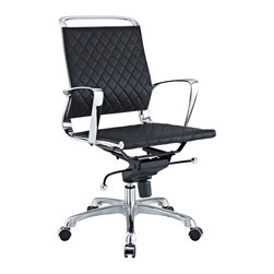 East End Imports - Vibe Office Chair in Black - Instill some panache to your office with a chair that says it all. Vibes modern style reverberates from start to finish. From its diamond patterned leather seat and back, to its high polished chrome frame, if ever there was a chair that turned seating into an art form it would be Vibe. Conveniently adjust your seating position with an easy to use seat tilt lever. The five-star hooded chrome base comes fitted with casters appropriate for any floor. Vibe is also height adjustable with its powerful pneumatic lift. The upward angle of the arms both adds to the distinguished nature of the piece, and helps you properly position your wrists for typing. The chair also comes fully equipped with a tension knob that allows you to personalize the back tilt to fit your particular build and posture. Vibe works just as well in smaller spaces as it does in spacious conference rooms. If you're looking for a modern chair with a bit of vivacity to it, then you've found your match.