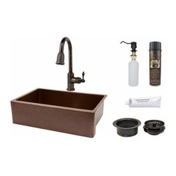 """Premier-Copper-Products - 33"""" Antique Copper Apron Sink w/ORB Faucet - KSP2_KASB33229 Premier Copper Products 33 Inch Antique Hammered Copper Kitchen Apron Single Basin Sink with ORB Pull Down Faucet, Matching Drain, and Accessories."""