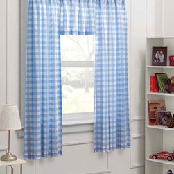 None - Blue/ White Check 63-inch Curtain Panel 3-piece Set - This window panel set includes two rod pocket panels and a coordinating insert valance. This window set showcases a large scale gingham check in shades of blue and white.