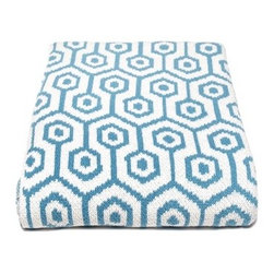 """In2Green - Eco Geo Throw Blanket - Features: -50"""" x 60"""" Throw Blanket. -These eco-friendly throws are knit with a blend of recycled cotton yarn.. -Bold new pattern is sure to become a modern classic. -Machine Washable."""
