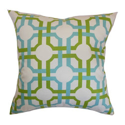 "The Pillow Collection - Aebba Tile Pillow Blue Green - Infuse a modern and chic vibe to your living room or bedroom by decorating this geometric accent pillow. Bold shades of blue and green are set against a white background giving this throw pillow a unique detail. This square pillow adds a contemporary touch to your sofa or bed. Layer this 18"" pillow with other patterns like stripes and plaids. Crafted from 100% soft cotton fabric. Hidden zipper closure for easy cover removal.  Knife edge finish on all four sides.  Reversible pillow with the same fabric on the back side.  Spot cleaning suggested."