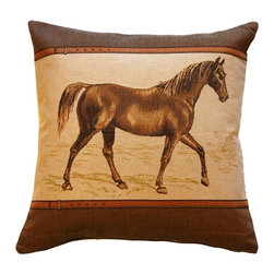 Pillow Decor Ltd. - Horse French Tapestry Throw Pillow - Pony up. Add a touch of equestrian charm to your interiors with this horse tapestry throw pillow. Jacquard woven in soft, brown tones, it blends beautifully with any decor.