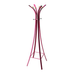Butler Specialty - Butler Randolph Pink Metal Costumer Coat Rack - Graceful curves and pink paint imbue this Costumer with a compellingly unconventional design, but it's the marriage of form and function that establishes its enormous appeal. In a surprisingly small space, it can hang out with10 coats and hats - without double dipping.