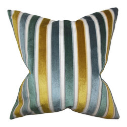 "The Pillow Collection - Alton Stripes Pillow Lagoon 18"" x 18"" - Lend an interesting detail to your room with this plush accent pillow. This indoor pillow is made from 100% high-quality velvet material. Coordinate this 18"" pillow with matching home accessories. Featuring a classic stripe pattern in shades of gold, teal and white, this toss pillow is the ideal statement piece for your living space. Hidden zipper closure for easy cover removal.  Knife edge finish on all four sides.  Reversible pillow with the same fabric on the back side.  Spot cleaning suggested."