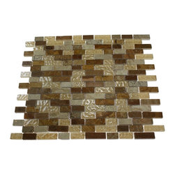 ALLOY CANYON BLEND 1/2 X Random GLASS & MARBLE MOSAIC TILES - This striking Glass and Stone Mosaic blend of polished glass in shades of golden brown in wood onyx and noche travertine, with the golden marble gives a luminescent quality to any bathroom, kitchen, or pool installation. The blending of the golden marble with the shades of golden brown will provide a rustic and traditional ambience but can still make a room look modern.