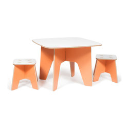 Quark Enterprises - Kids Table and 2 Stool Set, Orange - The Sprout Kids Table and Stools are perfect for drawing, play, or projects. They are made just the right size so you won't have to worry about potential falls, securing a booster seat, or helping your little ones climb up and down. The surface is durable and stain resistant so any spills will clean up easily.