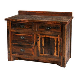 Fireside Lodge Furniture - Barnwood Sink Center Vanity w Edged Laminate - Choose Size,Sink Orientation & Leg Type: 72 in. Laminated Top - Double - HickoryBarnwood Collection. 4 Drawers. 1 Storage cabinet. Dovetailed drawers have full-extension ball-bearing glides rated at 100 pounds. Clear-coat catalyzed lacquer finish for extra durability on the cabinet. Individually handcrafted. 2-Year limited warranty. Laminated top: 30 in. W x 21 in. D x 33 in. H (110 lbs.). w/o Top: 42 in. W x 21 in. D x 32.25 in. H (130 lbs.). Laminated top: 42 in. W x 21 in. D x 33 in. H. w/o Top: 48 in. W x 21 in. D x 32.25 in. H (155 lbs.). Laminated top: 48 in. W x 21 in. D x 33 in. H (165 lbs.). w/o Top: 60 in. W x 21 in. D x 32.25 in. H (190 lbs.). Laminated top: 60 in. W x 21 in. D x 33 in. H (200 lbs.). w/o Top: 72 in. W x 21 in. D x 32.25 in. H (225 lbs.). Laminated top: 72 in. W x 21 in. D x 33 in. H (250 lbs.)