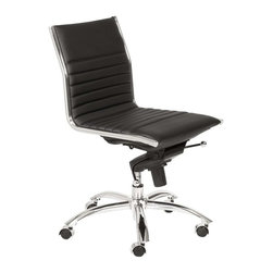 """Eurostyle - Eurostyle Dirk Low Back Swivel Office Chair without Arms in Black - Swivel Office Chair without Arms in Black belongs to Dirk Low Back Collection by Eurostyle Leatherette over foam seat and back. BIFMA approved chromed steel base. Tilt, swivel and gas lift. PU casters with stainless steel hood. Flat bungee band seat construction inside seat. Seat height 18"""" ��_��_��_ 21"""". More colors. Office Chair (1)"""