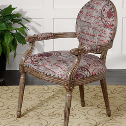 Bonheur French Script Print Armchair - Antiqued parchment fabric is accented with brass nail head trim. Solid mango wood is hand carved and finished in mocha gray with honey stained undertones. Designer: Matthew Williams.