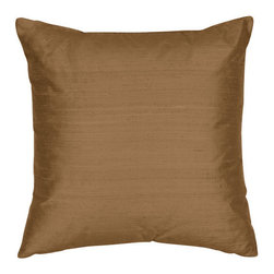 The Silk Group - India Bronze 18x18-Inch Square Silk Shantung Luxury Decorative Pillow Cover Only - - Handcrafted in the USA, these decorative pillows are ideal for adding that special finishing touch to any space. Available in over 100 colors, several of them can be combined for a grouping of complementary colors or contrasting shades. They feature 100% Grade A Silk Dupioni, the finest, highest quality, most exquisite silk fabric on the market. A high quality knit backing is permanently bonded to the back of the fabrics used in our pillows. The knit backing adds body, increased stability, and longevity to the pillow. An invisible, color-coordinated zipper is discretely placed on the bottom edge of the pillow, so both faces of the pillow are able to be displayed. The fabric face has been treated with the most durable and permanent eco-friendly stain, moisture and UV repellents available. Using nanotechnology, the repellents penetrate deeply into the fibres of the fabric through a gentle heat curing process. This provides long lasting protection from water, alcohol, and oil-based stains as well as resistance from fading, and discoloring over time  - Pillow cover only  - Laundering Information: Dry clean only  - Made in USA The Silk Group - SQ_Shant_Sol_India_Bronze_18x18_CO