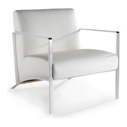 Nuevo Living - Risa Occasional Chair in White Naugahyde by Nuevo -HGAF208 - Add modern flair to your living room with this chic and gorgeous Risa lounge chair. This sleek modern chair features supple naugahyde (vinyl) in white with chrome steel frame. With unsurpassed style and comfort, the Risa is the perfect addition to your living space. This lounge chair also makes for an ideal waiting room and reception area chair for your offices. Bring a splash of style to any setting with this sophisticated white Risa lounge chair.