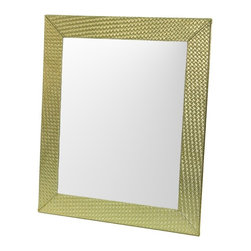 Gedy - Gold Faux Leather Frame Mirror with Horizontal or Vertical Mounting - Add this designer, contemporary bathroom accessory set to your already modern master bathroom.