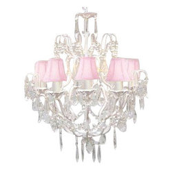 The Gallery - Wrought Iron and Crystal chandelier with Pink Shades - 100% crystalrought Iron chandelier. A Great European Tradition. Nothing is quite as elegant as the fine crystal chandeliers that gave sparkle to brilliant evenings at palaces and manor houses across Europe. This beautiful chandelier from the Versailles Collection has 5 lights and is decorated and draped with 100% crystal that captures and reflects the light of the candle bulbs. The frame is Wrought Iron, adding the finishing touch to a wonderful fixture. The timeless elegance of this chandelier is sure to lend a special atmosphere anywhere its placed! This item comes with 18 inches of chain.
