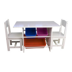 River Ridge - Kids Table w 2 Chairs & 3 Plastic Storage Bins - Includes table, 2 matching chairs and 3 plastic bins. 3 Handy plastic storage bins fit neatly under the table. Storage bins keep supplies, toys, games and more organized. Kid's room, play room, family room. Painted wood composite and solid wood construction. Assembly required. Large bin: 16.25 in. W x 11.88 in. D x 4.88 in. H. Small bins: 11.88 in. W x 7.75 in. D x 4.88 in. H. Table assembled size: 31.5 in. W x 18.13 in. D x 19.88 in. H. Chair assembled size: 11.87 in. W x 11.87 in. D x 22 in. H. Weight: 20.2 lbs.